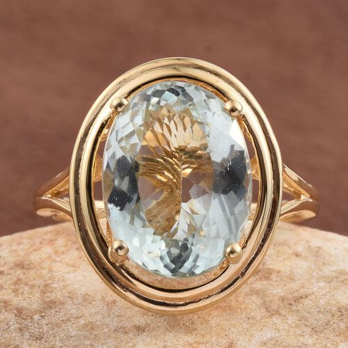 Green Amethyst (Ovl) Solitaire Ring in 14K Gold Overlay Sterling Silver 8.000 Ct. Silver wt 5.40 Gms.