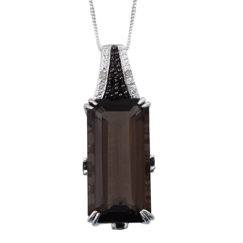 Brazilian Smoky Quartz (Oct 16.80 Ct), Boi Ploi Black Spinel and Diamond Pendant With Chain in Platinum Overlay Sterling Silver 17.550 Ct.