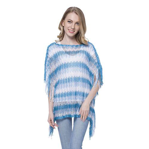 White, Light and Dark Blue Colour Stripe Pattern Poncho (Size 90x55 Cm) and White Colour Vest (Size 60x55 Cm)