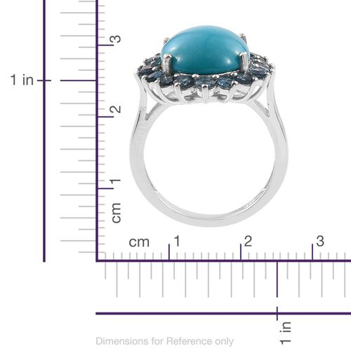 Arizona Sleeping Beauty Turquoise (Ovl 5.50 Ct), London Blue Topaz Flower Ring in Platinum Overlay Sterling Silver 7.250 Ct.
