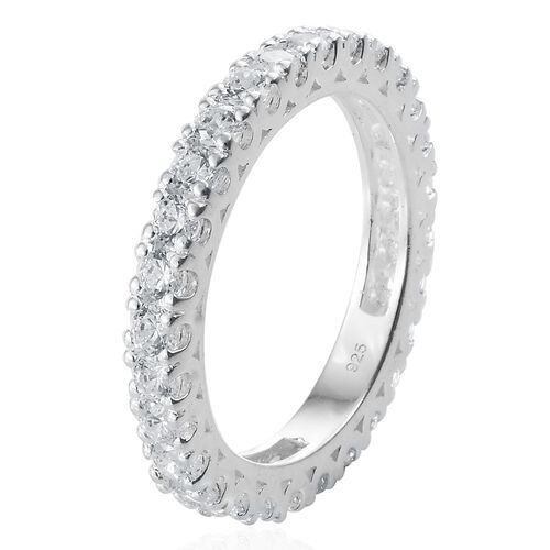 J Francis - Sterling Silver (Rnd) Full Eternity Band Ring Made with SWAROVSKI ZIRCONIA