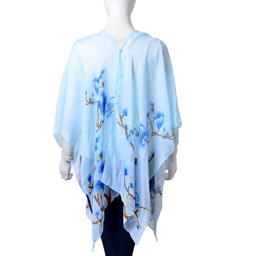 Plum Blossom Floral Pattern Aquamarine, Chocolate and White Colour Poncho with Simulated White Pearl Button (Size 90x75 Cm)