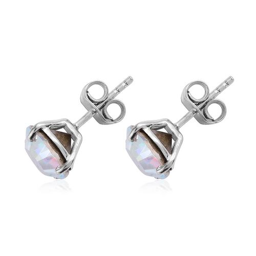 Crystal from Swarovski - Aurore Boreales Crystal (Rnd) Stud Earrings (with Push Back) in Platinum Overlay Sterling Silver