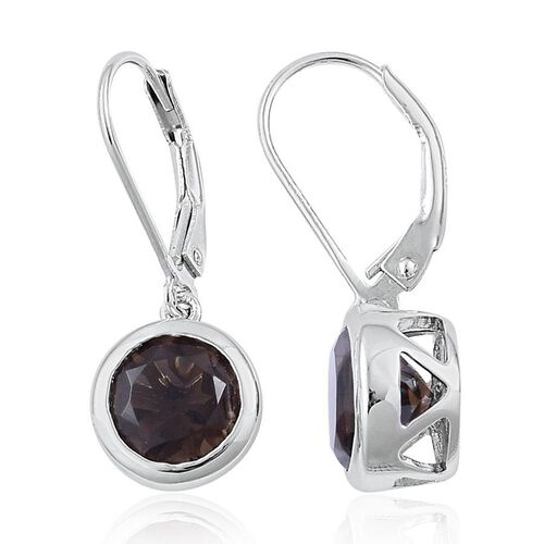 Brazilian Smoky Quartz (Rnd) Lever Back Earrings Platinum Overlay Sterling Silver 3.500 Ct.