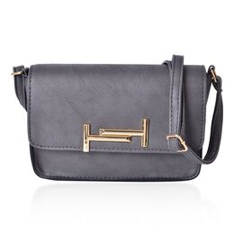 Designer Inspired-Dark Grey Colour Crossbody Bag with Adjustable Shoulder Strap (Size 20x14x6 Cm)