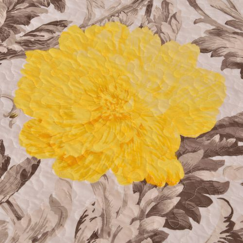 King Size Sherpa Quilt with Yellow and Grey Floral Design (Size 260X240 Cm)
