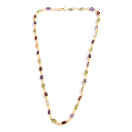Amethyst (Ovl), Hebei Peridot, Indian Garnet and Citrine Necklace (Size 18) in Yellow Gold Overlay Sterling Silver 11.650 Ct. Silver wt 7.30 Gms.