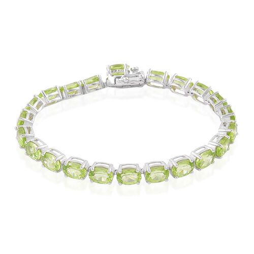 Hebei Peridot (Ovl) Bracelet (Size 7.5) in Platinum Overlay Sterling Silver 21.500 Ct. Silver wt 8.90 Gms.