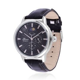 GENOA Chronograph Look Black Dial Water Resistant Watch in Silver Tone with Stainless Steel Back and Black Strap