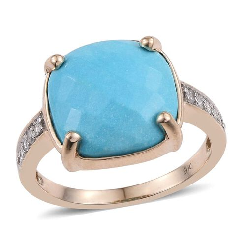 9K Y Gold Arizona Sleeping Beauty Turquoise (Cush 6.10 Ct), Diamond Ring 6.250 Ct.
