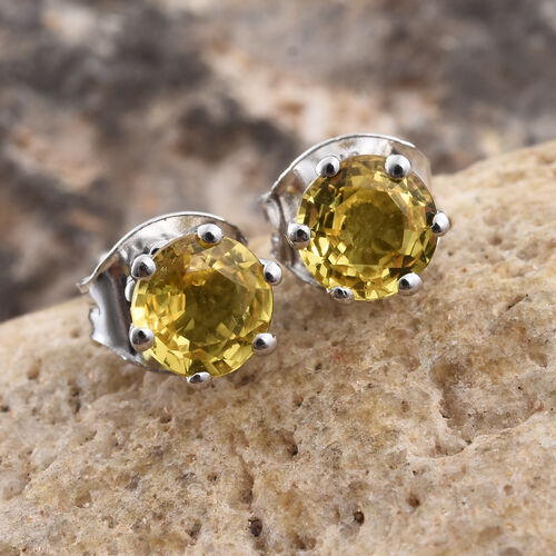 9K White Gold AA Yellow Sapphire (Rnd) Stud Earrings (with Push Back) 1.000 Ct.
