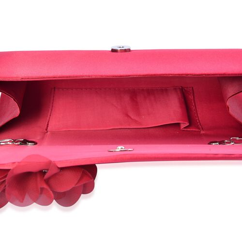 Lipstick Red Satin Clutch with White Austrian Crystal and Removable Chain Strap (Size 24x9 Cm)