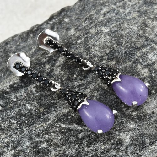 Purple Jade (Pear), Boi Ploi Black Spinel Earrings (with Push Back) in Black Rhodium and Platinum Overlay Sterling Silver 5.000 Ct.