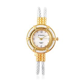 STRADA Japanese Movement White Colour Bangle Watch in Gold Tone with Stainless Steel Back