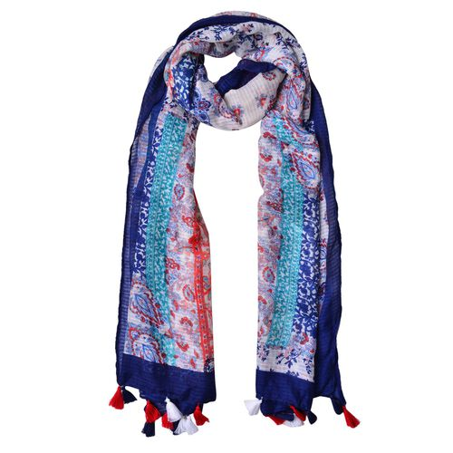 Navy, Red and Multi Colour Printed Scarf with Tassels (Size 180X90 Cm)