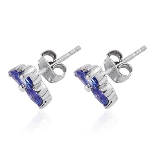 9K W Gold Tanzanite (Rnd) Stud Earrings (with Push Back) 1.750 Ct.