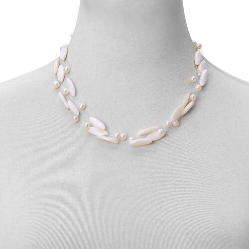 Designer Inspired-White Shell and Fresh Water White Pearl Triple Strand Necklace (Size 18) in Silver Tone