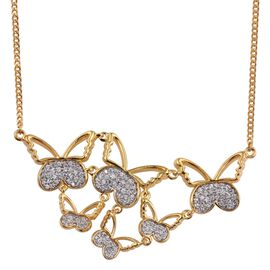 Kimberley Butterfly Collection Natural Cambodian Zircon (Rnd) Butterfly Necklace (Size 18) in 14K Gold Overlay Sterling Silver, Silver wt 13.89 Gms.