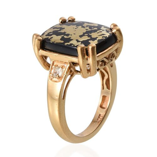 Goldenite (Cush 7.25 Ct), Madagascar Yellow Apatite Ring in 14K Gold Overlay Sterling Silver 7.400 Ct.