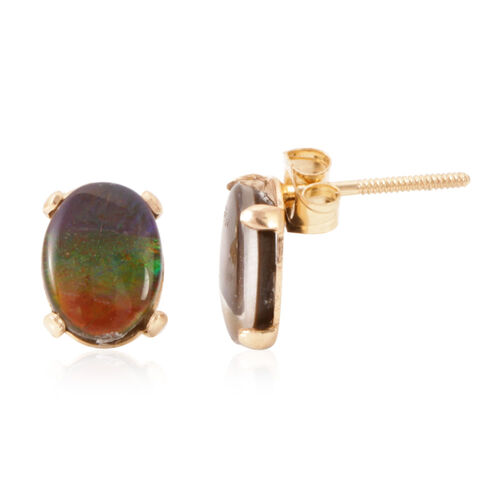 14K Y Gold Rare AA Canadian Ammolite (Ovl) Earrings (with Push to Screw Back) 2.250 Ct.