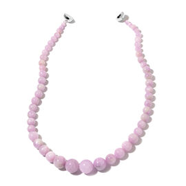 Rare Size Kunzite Beads Necklace (Size 20) with Magnetic Clasp in Rhodium Plated Sterling Silver 456.500 Ct.
