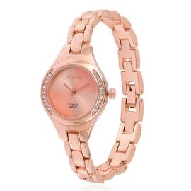 STRADA Japanese Movement White Austrian Crystal Studded Watch in Rose Gold Tone with Chain Strap