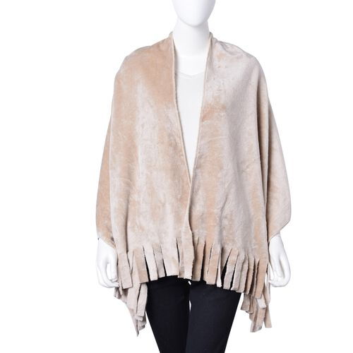 Designer Inspired-Beige Colour Velvet Reversible Wrap with Fringes (Size 180X58 Cm)
