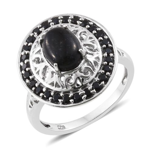Black Jade (Ovl 1.75 Ct), Boi Ploi Black Spinel Ring in Platinum Overlay Sterling Silver 2.500 Ct.