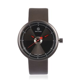 STRADA Japanese Movement Black and Grey Colour Dial Water Resistant Watch with Taupe Colour Strap
