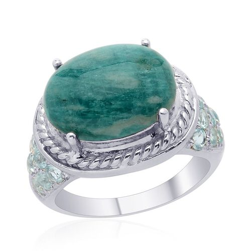 Russian Amazonite (Ovl 6.50 Ct), Paraibe Apatite Ring in Platinum Overlay Sterling Silver 7.750 Ct.