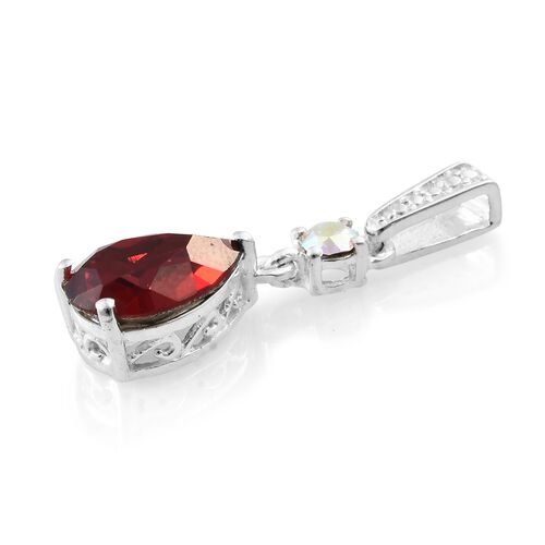 J Francis Crystal from Swarovski - Light Siam Crystal (Pear), AB Colour Crystal Pendant in Sterling Silver