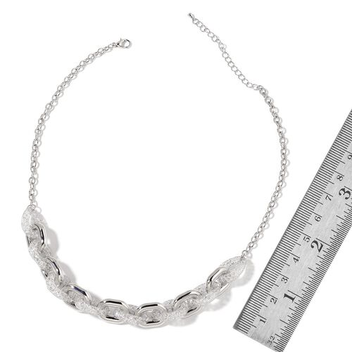 White Austrian Crystal Necklace (Size 18 with 2 inch Extender) and Bracelet (Size 7 with 1.5 inch Extender) in Silver Tone