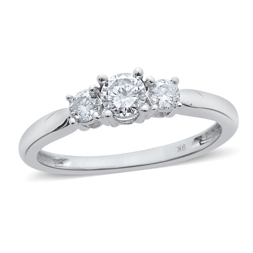 9K White Gold SGL Certified 1 Carat Diamond (I3/ G-H) 3 Stone Ring.
