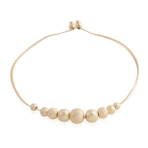 14K Gold Overlay Sterling Silver Adjustable Ball Bracelet (Size 8.5), Silver wt 4.60 Gms.