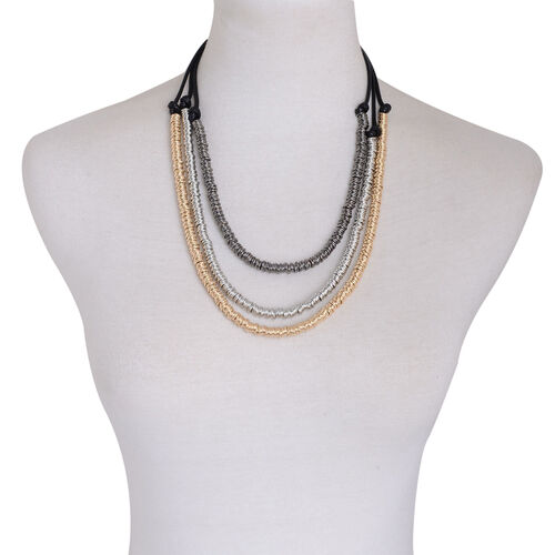 Three Strand Necklace (Size 22 with Extender) in Gold, Silver and Black Tone