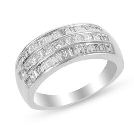 ILIANA 18K White Gold 1 Carat Diamond Half Eternity Ring IGI Certified (SI/G-H)