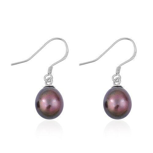 (Option 1) Fresh Water Peacock Pearl Drop Hook Earrings in Rhodium Plated Sterling Silver