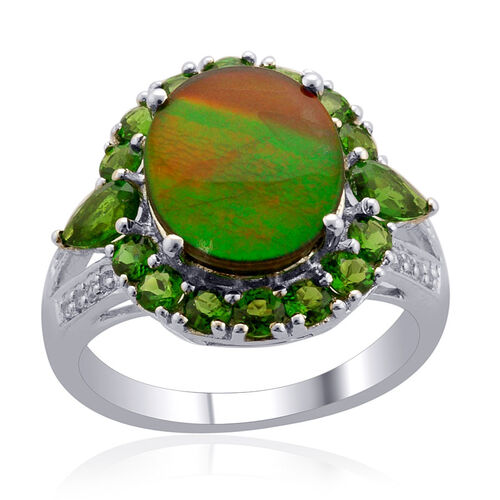 Canadian Ammolite (Ovl 3.25 Ct), Russian Diopside and White Topaz Ring in Platinum Overlay Sterling Silver 4.850 Ct.
