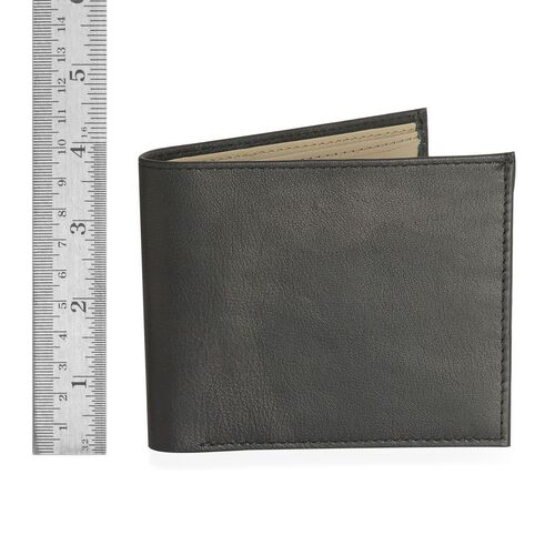 Genuine Leather Black Colour Wallet with Beige Colour Inside