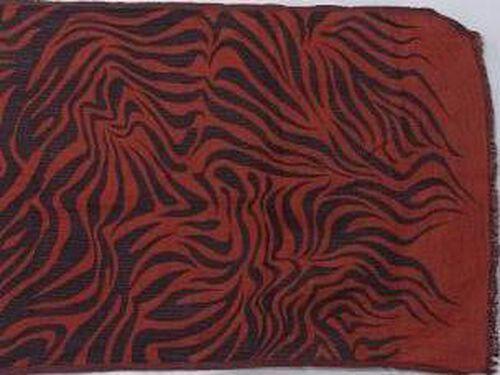 100% Wool Zebra Pattern Dark Red Colour Scarf (Size 70x180 Cm)