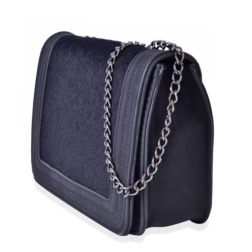 Black Colour Faux Fur Crossbody Bag with Chain Strap (Size 21x15x6.5 Cm)