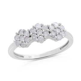 9K White Gold 0.50 Carat Diamond Triple Floral Ring, SGL Certified I3 G-H