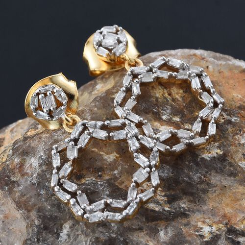 Designer Inspired- Diamond (Bgt) Earrings (with Push Back) in 14K Gold Overlay Sterling Silver 0.330 Ct.