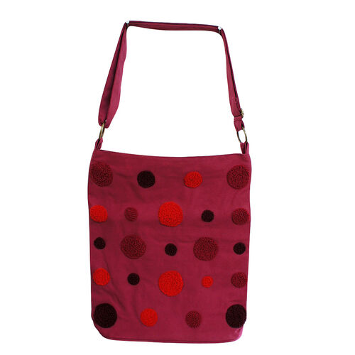 Bali Collection 100% Cotton Vivacious Polka Applique Shoulder Bubble Bag