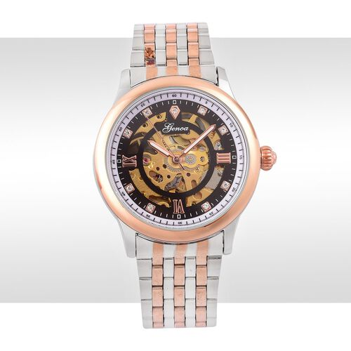 GENOA Automatic Skeleton White Austrian Crystal Studded Black Dial Watch in Silver and Rose Gold Tone
