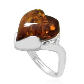 Baltic Amber (Hrt) Solitaire Ring in Rhodium Plated Sterling Silver 4.000 Ct.