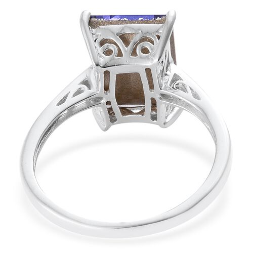 J Francis Crystal from Swarovski - Tanzanite Colour Crystal (Bgt) Solitaire Ring in Sterling Silver