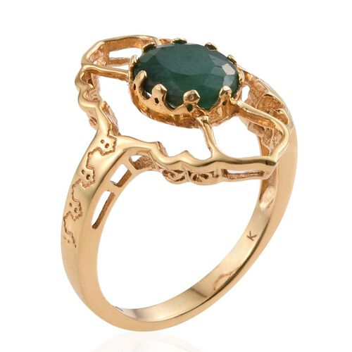 Kimberley Collection Enhanced Emerald (Ovl) Ring in 14K Gold Overlay Sterling Silver 3.000 Ct.