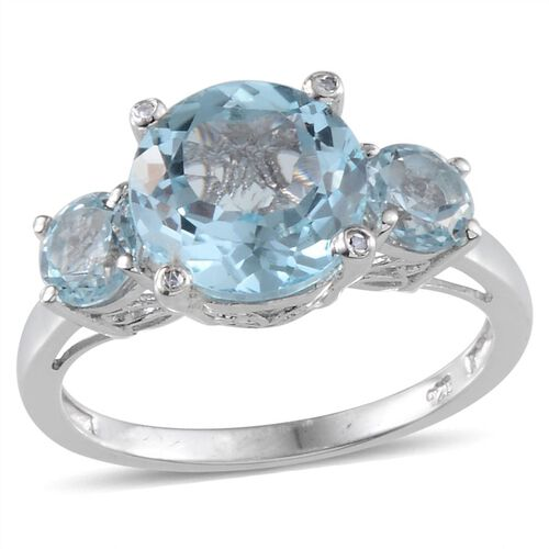 Sky Blue Topaz (Rnd 5.75 Ct), Diamond 3 Stone Ring in Platinum Overlay Sterling Silver 5.770 Ct.