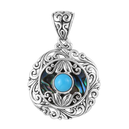 Arizona Sleeping Beauty Turquoise (Rnd), Abalone Shell Pendant in Sterling Silver 12.720 Ct.